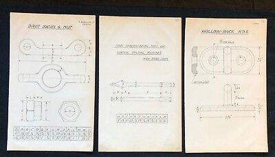 3 X Harland & Wolff Belfast 1930's Drawings  HOOKS NAIL DRAWERS PLATES  - RF13