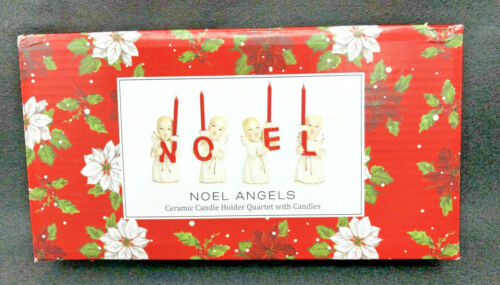 The Vermont Country Store NOEL Christmas Angel Candleholder Set of 4 w/ Candles
