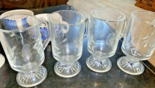 Princess House Heritage  ETCHED Crystal Pedestal Beverage Mugs Set of 4 KTC