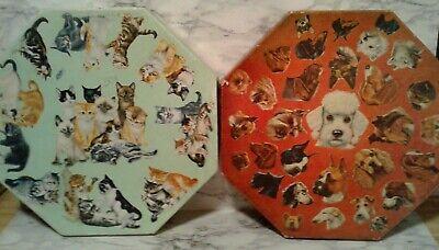 2 Vntg SPRINGBOK Jigsaw Puzzles - DOG Puppy PORTRAITS & KITTENS Cats - Octagon