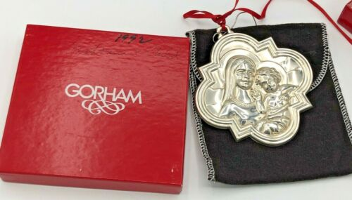Gorham Sterling Silver Madonna and Child Ornament, with box