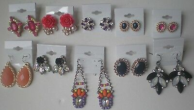 Lot of 10 Pairs of Rhinestone Earrings New #01