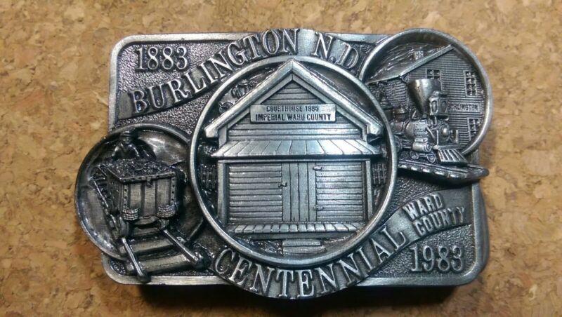 Burlington N.D. Railroad Train Pewter Belt Buckle 1983 Limited Edition