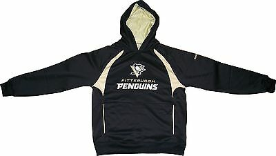 Pittsburgh Penguins Reebok Black Synthetic Trainer Hooded Sweatshirt - Medium