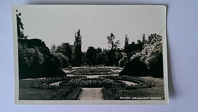 Oliwa Fragment Parku Gdansk Poland Vintage B&W postcard c1950
