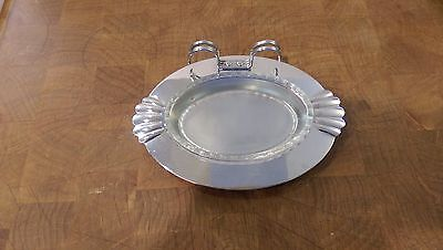"""Farber Bros. Krome Kraft Butter Dish, Clear Glass Insert, Knife Holder, 6 1/2"""""""
