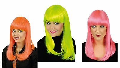 Langhaarperücke mit Pony neon pink orange o. grün Hippie Party Karneval Fasching ()