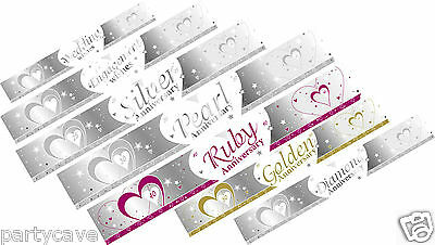 9ft Silver & White Wedding Engagement Party Anniversary Banner Decoration (Silver Wedding Anniversary Banners)