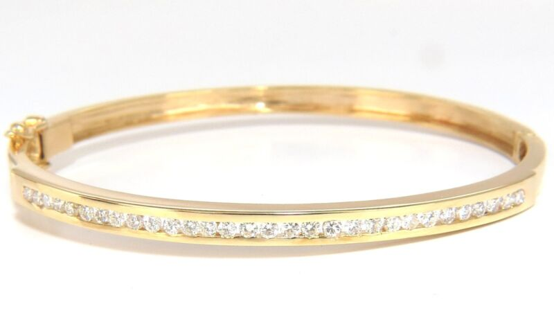 1.30ct Natural Round Diamonds Channel Set Bangle Bracelet 14kt Yellow Gold