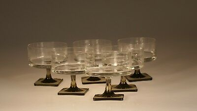 Set of 6 Rosenthal Berlin Linear Smoke Crystal Champagne or Dessert Dishes