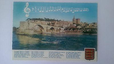 Vintage French colour Postcard c1960s Bridge at Avignon