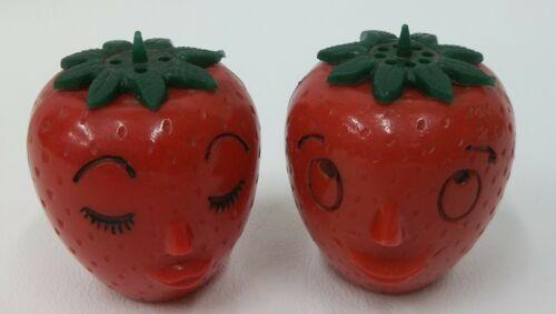 Vintage Anthropomorphic Hard Plastic Strawberry Heads Salt & Pepper Shakers