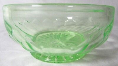Vintage Uranium Green Depression Glass Fluted Berry Dessert Bowl 4 inch diameter Fluted Berry Bowl