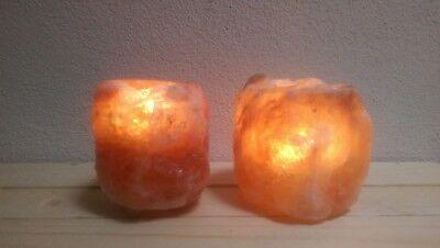 2 Teelichter! Salzteelichter mit Kerze - Salz Kristall von Biova-1A Qualität