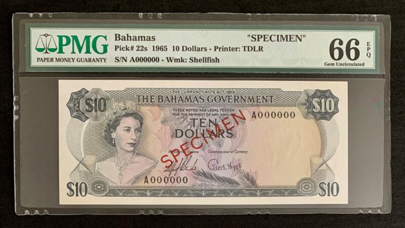 NQC Bahamas Pick# 22s 1965 $10 (SPECIMEN). PMG Gem Uncirculated 66 EPQ