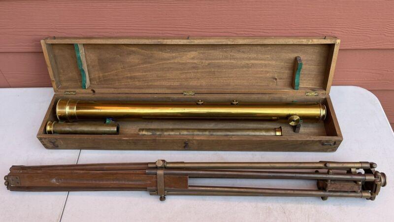 Antique Selsi Paris E. Vion 60mm Brass Refractor Telescope with Box & Tripod