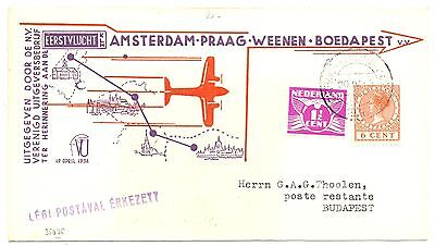 NEDERLAND 1936-4-20   FFC AMSTERDAM-BOEDAPEST  MET ROLT#59, 65  PRACHT