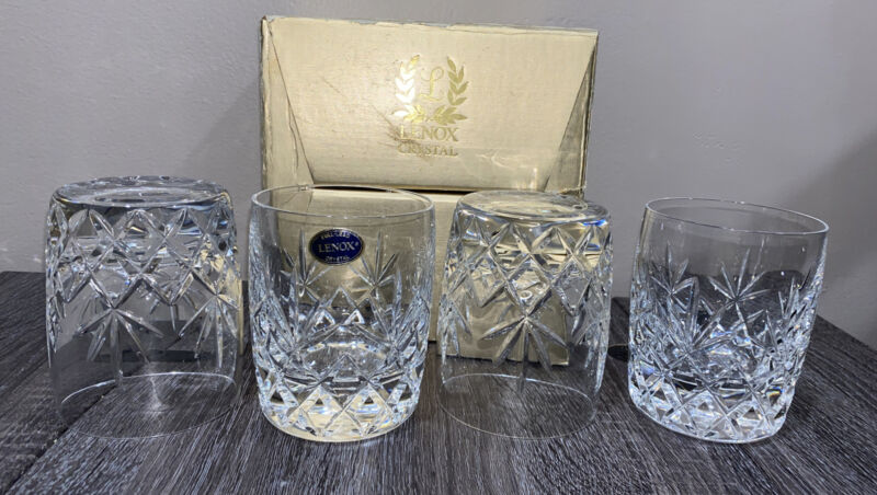 LENOX Charleston Pattern Double Old Fashioned Whiskey Crystal Glasses ~ Set of 4