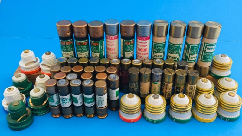 60 VINTAGE TYPE OF FUSES BEFORE BREAKERS  (See all pics) for types of fuses