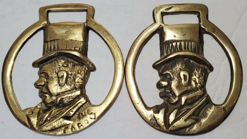 2 Vintage Brass Horse Harness Medallions