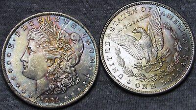 1884+1884-O Morgan Silver Dollars --- GEM BU++ RAINBOW TONED CONDITION --- #I542