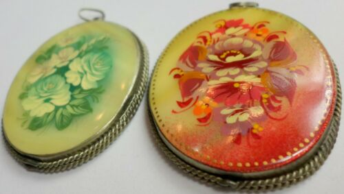 2 Vintage Russian Hand Painted Mother Of Pearl Floral Pendants 45x36mm Signed 7