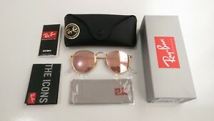 Rose Gold Ray-Ban RB3447 Round Metal (Pink) Sunglasses 50mm