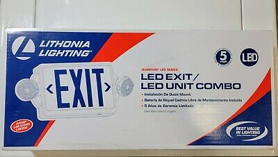 Lithonia Lighting 2-light Led White With Green Stencil Exit Signemergency Light