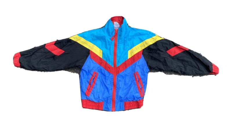 Vintage 90s Color Blocked Kids Windbreaker Jacket Size 7
