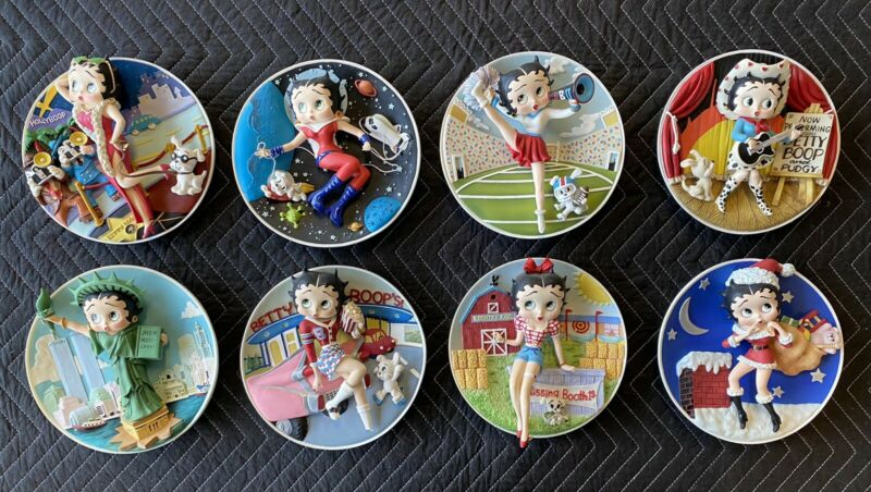 Betty Boop Danbury Mint Sculptural Three-Dimensional Collection Plate Set (8)