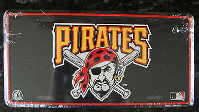 Pirates License Plate MLB Licensed Pittsburgh Baseball Metal Car Tag Team Fan