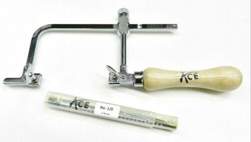 """Jewelers Saw Frame 3"""" & 144 Saw Blades # 0 Jewelry Making Set Sawframe & 1/0 Grs"""