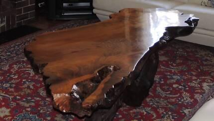 Natural timber coffee table - Australian burl