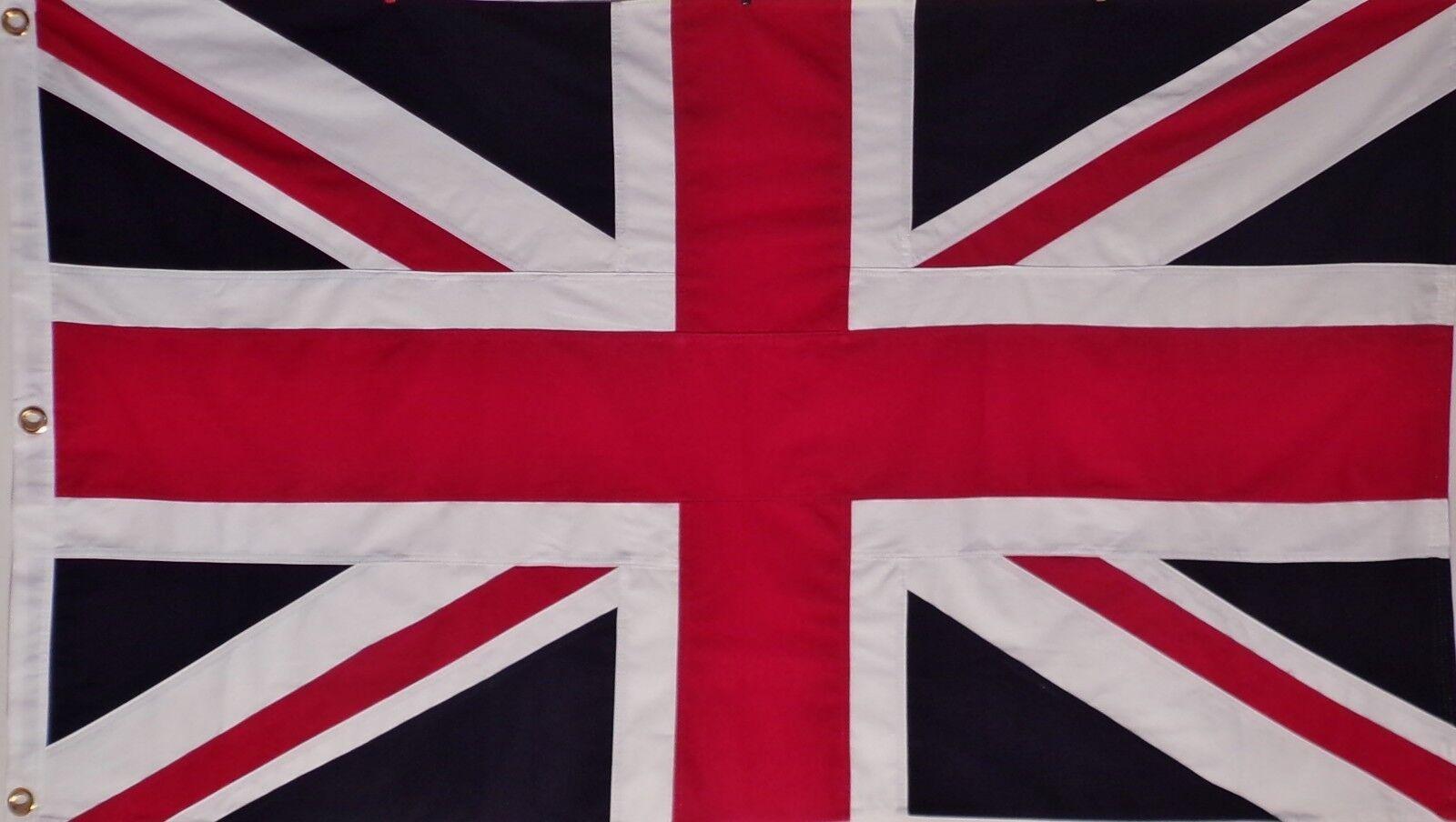 SEWN COTTON 3' X 5' ENGLAND UK FLAG - UNION JACK - ENGLISH -