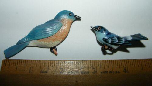 2 Vtg Artist Made Bluebird Pins Wood Catharine Jackson Bird Brooch Canada Compo