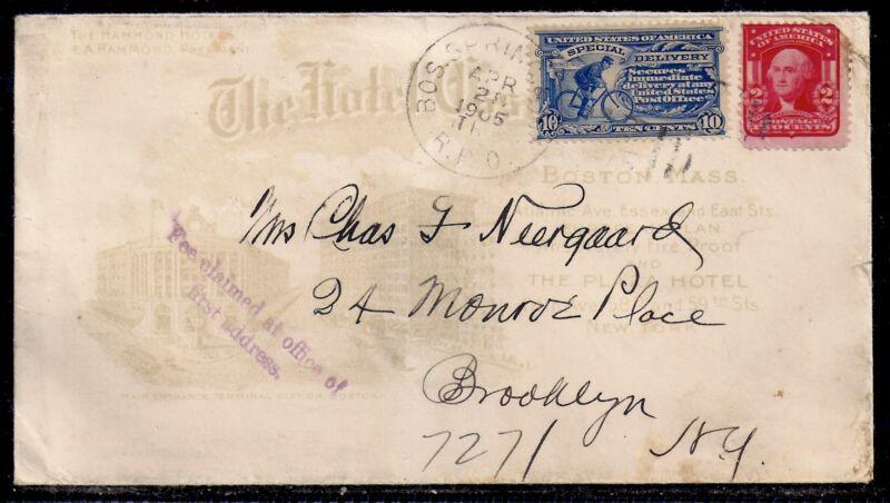 1905 Special Delivery Boston to Brooklyn - E6 on Allover Hotel Cover - RPO