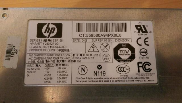 HP Power Supply ProLiant DL360 G3 Netzteil 325W 280127-001 305447-001 ESP128 PSU