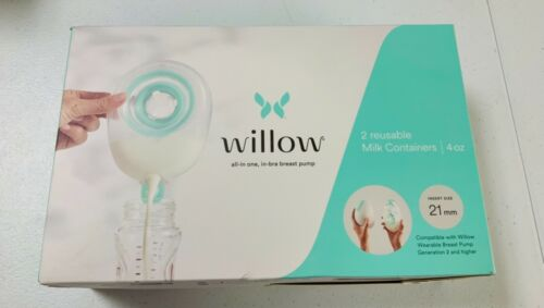Willow Pump Reusable Breast Milk Containers, 2-Pack | Holds up to 4 oz. 21mm