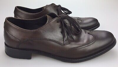 John Varvatos USA Brown Leather Wingtip Men's 8.5 M Derby Oxford Shoes Wing Tips John Brown Oxford