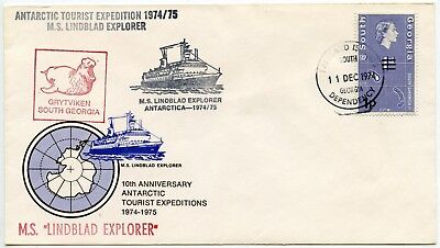 Antarctic Tourist Expedition 1974 Ship Lindblad 1P South Georgia Map Surcharge