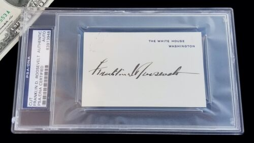 FDR President FRANKLIN ROOSEVELT Signed WHITE HOUSE CARD/Autograph-PSA/DNA-WWII