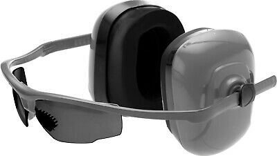 Safety Glasses Earmuffs Eye Hearing Protection Shooting Range Grey 1 Set