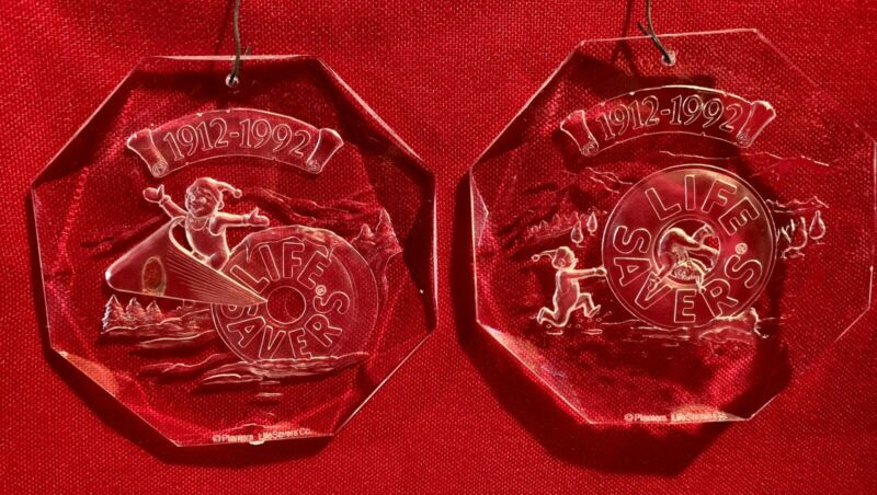 Life Savers,80th Anniversary,Christmas,Elf,Vintage,1992,Ornaments,Set of2