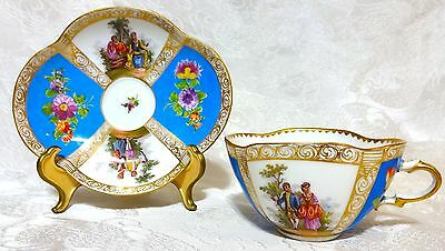 Antique Dresden Meissen KLEMM Tea Cup & Saucer Quatrefoil LOVERS Blue ca.1890s