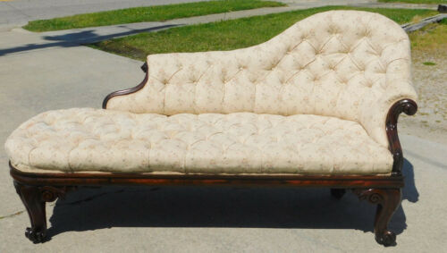 Victorian Lounge Daybed Fainting Couch circa 1850 Rosewood