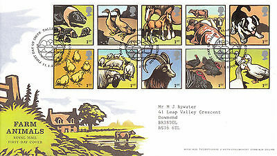 11 JANUARY 2005 FARM ANIMALS ROYAL MAIL FIRST DAY COVER BUREAU SHS (a)