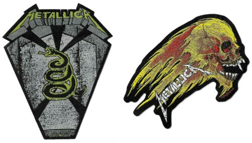 Metallica Pit Boss Coffin + Flaming Skull Patch Lot [UK Import] Die-Cut Patches