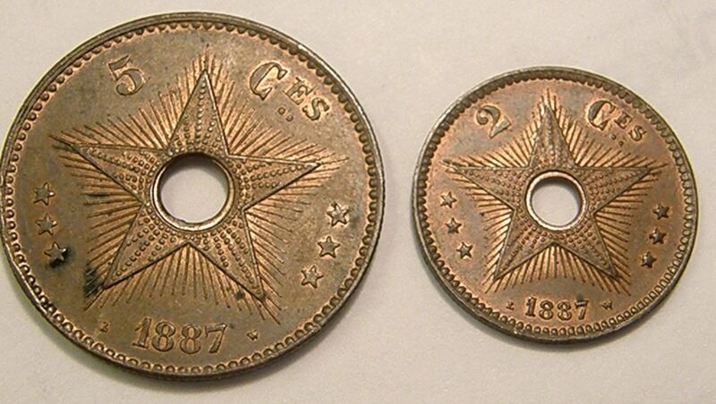 2-1887 CONGO FREE STATE COINS 2 Centimes & 5 Centimes Extra Nice w/Some LUSTER