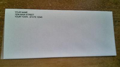 "100 Security Envelopes #10 4-1/8""x9-1/2"" White, PERSONALIZED Business Envelopes"