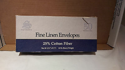 SOUTHWORTH 40 FINE LINEN White ENVELOPES White 25% Cotton Fiber 24lb No. 10 - Fine Linen 10 Envelopes